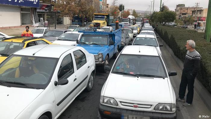 Long lines for fuel in Iran