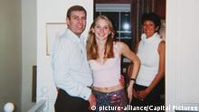 Prince Andrew smiling as he stands with his left arm around the waist of a young Virginia Roberts. It is alleged to have been taken in early 2001. Ghislaine Maxwell stands behind. *Editorial Use Only* see Special Instructions. CAP/PLF Image supplied by Capital Pictures