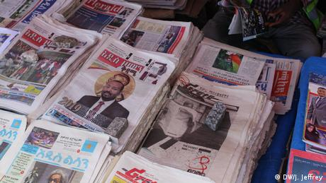 Ethiopian newspapers - one featuring Prime Minister Abiy Ahmed (DW/J. Jeffrey)