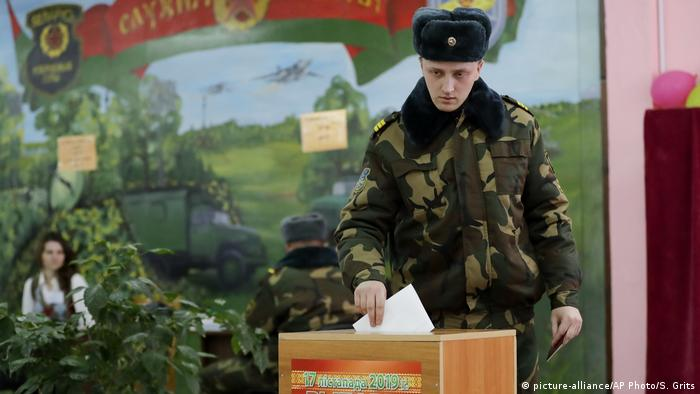 A soldier casts his vote in Belarus elections