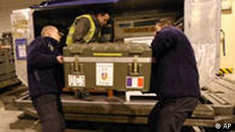 Firefighters of southern France load equipment bound for Haiti