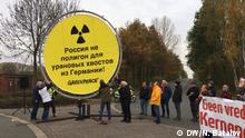 Atomkraftgegner protestieren gegen Urantransport nach Russland. Foto: Nikita Batalov