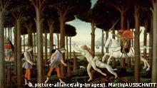 """Botticelli, Sandro, 1445–1510, u. Werkstatt. """"Die Geschichte des Nastagio degli Honesti I"""", 1483. (Nastagio erscheint der Reiter Ivo, der seine Hunde auf ein nacktes Mädchen hetzt; – nach Boccaccio, Decamerone, V, 8). Aus einer Serie von vier Truhenbildern. Tempera auf Holz, 183 × 83 cm. Inv. Nr. 2838 Madrid, Museo del Prado.  """