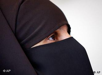 Woman wearing a full-face veil
