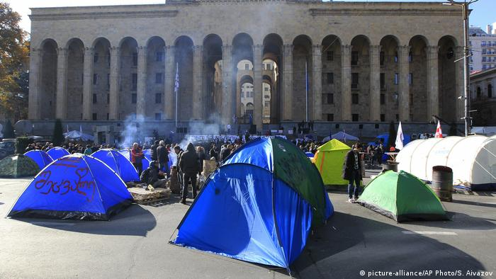 Protesters in tents outside the parliament building