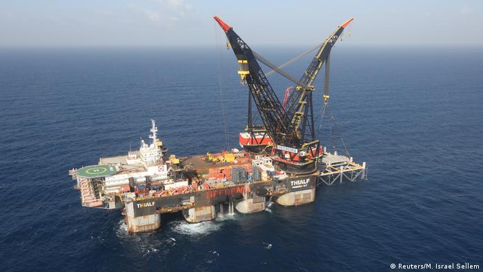 Israeli gas platform in the Leviathan gas field in the Mediterranean Sea