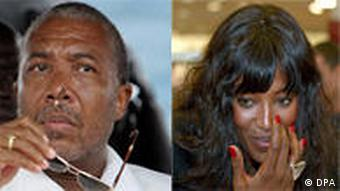 A photo Charles Taylor next to a photo of Naomi Campbell