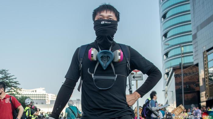 A Hong Kong anti-government protester sporting a face mask