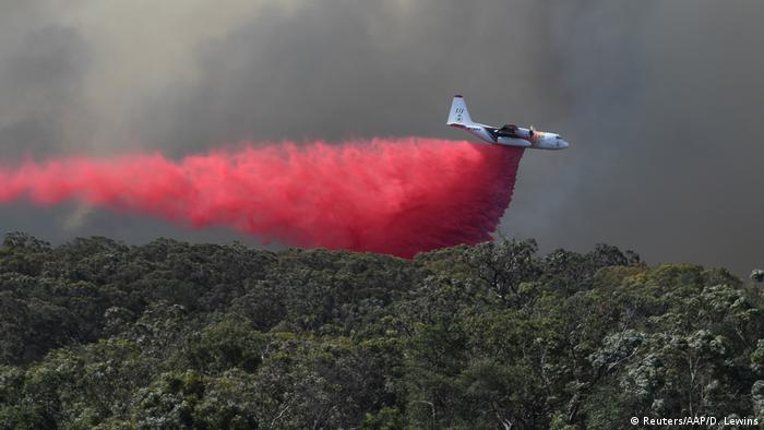 An air tanker drops fire retardant over the Gospers Mountain fire in November 2019 (Reuters/AAP/D. Lewins)