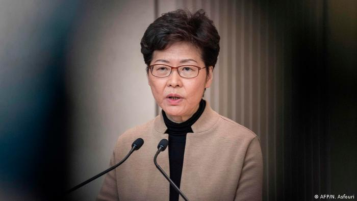 Chief Executive Carrie Lam speaks during a press conference