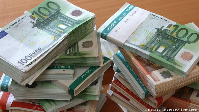 A stack of Euro bank notes