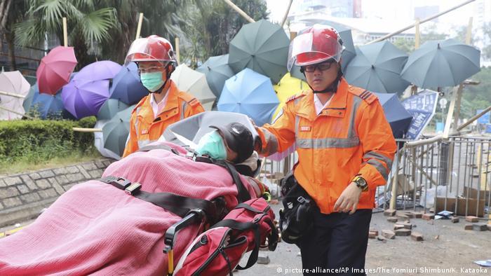 Honkong Proteste Polytechnische Universität | Verletzte (picture-alliance/AP Images/The Yomiuri Shimbun/K. Kataoka)