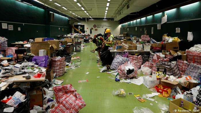 Protester supplies inside Hong Kong Polytechnic University
