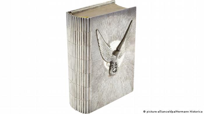 Silver-covered edition of Adolf Hitler's book, Mein Kampf
