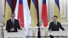Ukraine Kiew Andrej Babis auf Pressekonferenz mit Wolodymyr Selenskyj