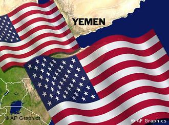 US flags over YEMEN map