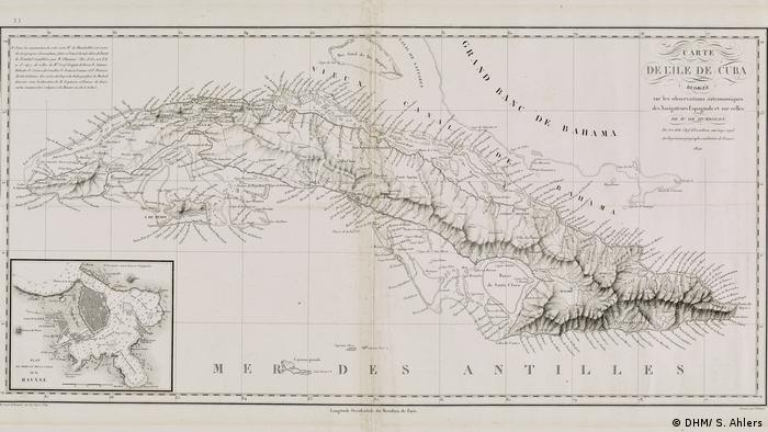 Drawing of a map of Cuba by Pierre Lapie. (DHM/ S. Ahlers)