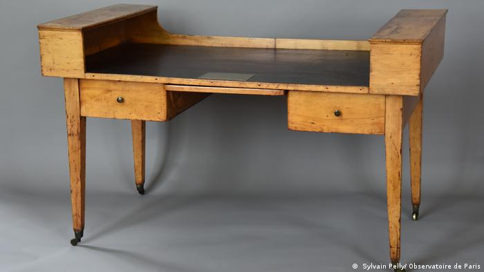 wood desk that belonged to Alexander von Humboldt ( Sylvain Pelly/ Observatoire de Paris)