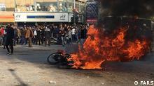 Protest gegen Preissteigerung von Benzin in Iran. Stichwörter: Iran, Protest, Benzin