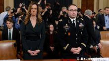 19.11.2019 *** Jennifer Williams, a special adviser to Vice President Mike Pence for European and Russian affairs and Lt. Colonel Alexander Vindman, director for European Affairs at the National Security Council, take their seats to testify before a House Intelligence Committee hearing as part of the impeachment inquiry into U.S. President Donald Trump on Capitol Hill in Washington, U.S., November 19, 2019. REUTERS/Erin Scott