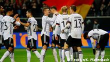 Soccer Football - Euro 2020 Qualifier - Group C - Germany v Northern Ireland - Commerzbank-Arena, Frankfurt, Germany - November 19, 2019 Germany's Leon Goretzka celebrates scoring their second goal with teammates REUTERS/Kai Pfaffenbach DFB regulations prohibit any use of photographs as image sequences and/or quasi-video