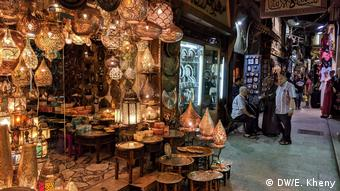 Egypt, interior market stand selling lamps