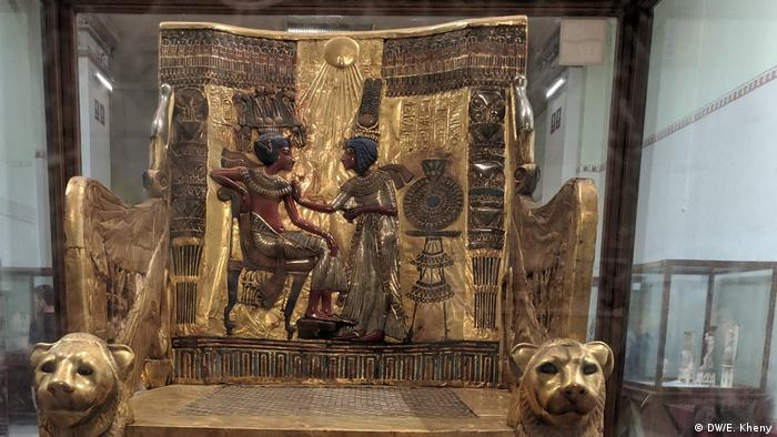 Egypt, chair of Tutankhamun made of wood and layered with pure gold