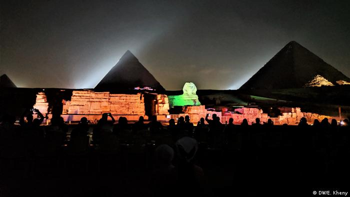 Egypt,the pyramids and the Sphinx lit up at night