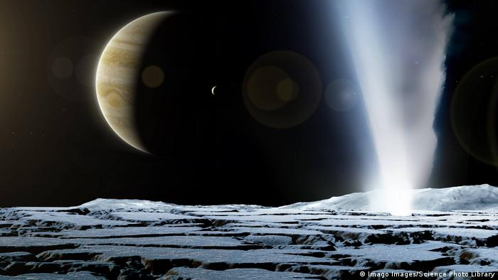 Artist's illustration of a geyser on Jupiter's moon, Europa