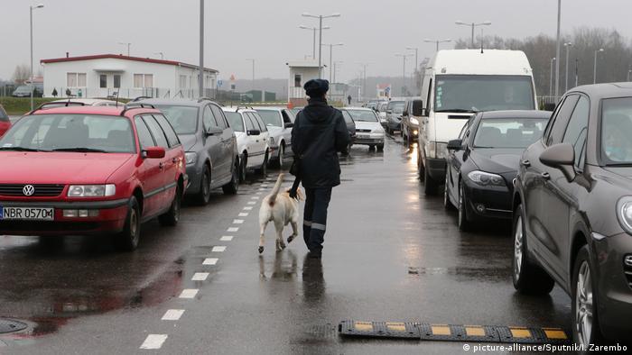 Очередь машина на польско-российской границе