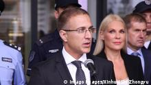(190918) -- BELGRADE, Sept. 18, 2019 -- Serbian Interior Minister Nebojsa Stefanovic (C, front) delivers a speech at a launching ceremony of the first joint patrol of Chinese and Serbian policemen in Belgrade, Serbia, Sept 18, 2019. The first joint patrol of Chinese and Serbian policemen was presented to the public in downtown Belgrade on Wednesday. Serbian Interior Minister Nebojsa Stefanovic explained that the police officers will conduct joint patrols at several locations in the city that are considered either tourist attractions or important locations for Chinese citizens in order to make communication easier for them. (Photo by Nemanja Cabric/Xinhua) SERBIA-BELGRADE-CHINA-JOINT POLICE PATROLS-LAUNCH ShixZhongyu PUBLICATIONxNOTxINxCHN