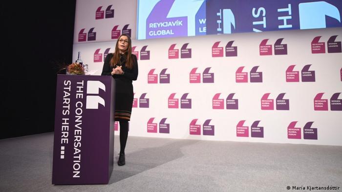 Icelandic Prime Minister Katrin Jakobsdottir opening the Reykjavik Global Forum of femal leaders