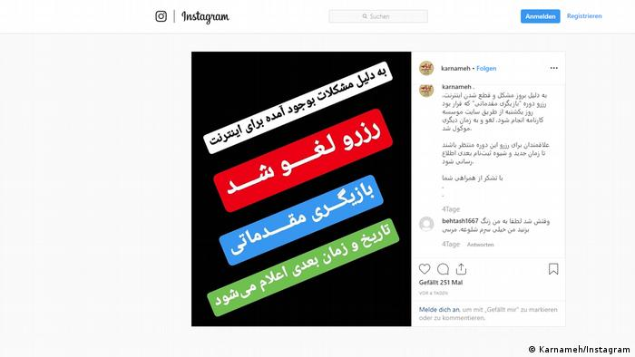 Screenshot Instagram Account Karnameh