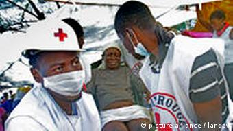 Red Cross workers in Haiti