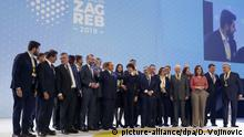 Outgoing President of the European Council and new President of the European People's Party Donald Tusk and other leaders pose for a group photo during the European Peoples Party (EPP) congress in Zagreb, Croatia, Thursday, Nov. 21, 2019. (AP Photo/Darko Vojinovic) |