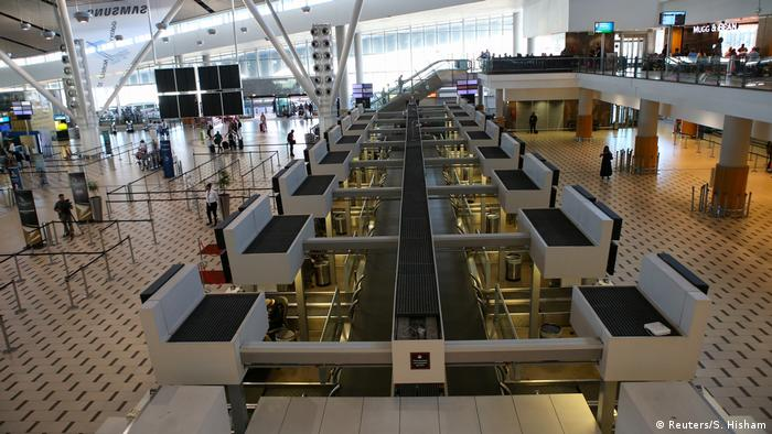 Empty counters at the Cape Town International Airport