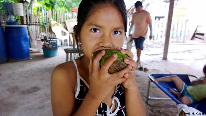 Variedad de alimentos de la Amazonía peruana: una niña come mango en la comunidad indígena de Santa Clara de Uchunya.