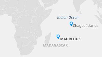 Карта Індійського океану, на якій вказані Маврикій та архіпелаг Чагос