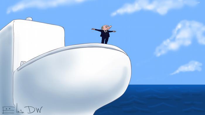 Путин плывет на унитазе - карикатура Сергея Елкина
