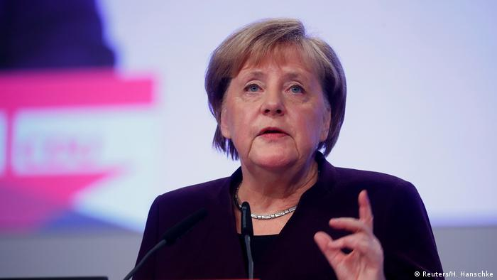 Chancellor Merkel at a CDU event in Leipzig (Reuters/H. Hanschke)