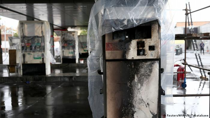 A burnt-out gas station in Tehran after protests (Reuters/WANA/N. Tabatabaee)