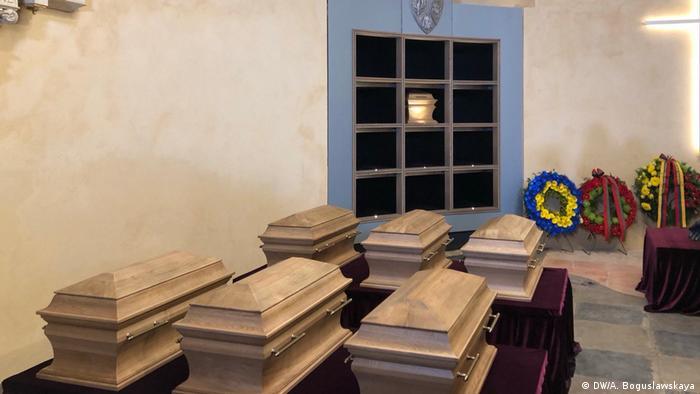 Гробы с останками Кастуся Калиновского и других участников восстания 1863-1864 годов
