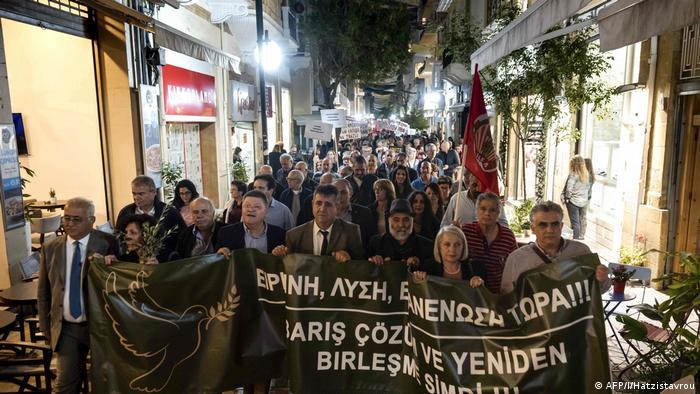 Bikommunale Demonstration in Nikosia für die Wiedervereinigung