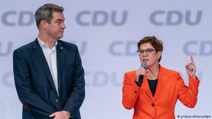 Deutschland | CDU-Parteitag in Leipzig | Markus Söder und Annegret Kramp-Karrenbauer (picture alliance/dpa)
