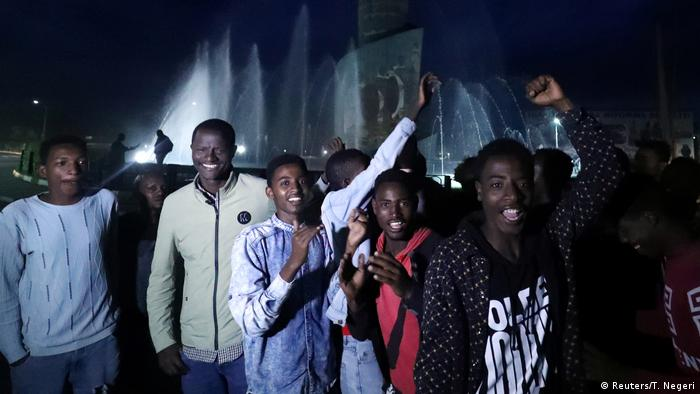 Young men in Hawassa in Ethiopia celebrate the referendum results (Reuters/T. Negeri)