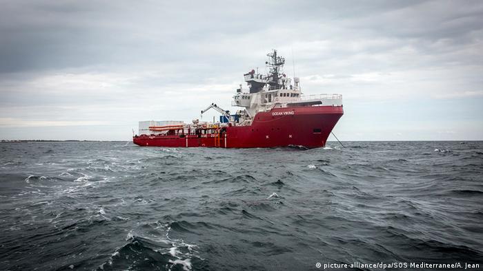 The Ocean Viking rescue ship at sea