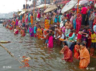 Bathing in the Ganges is considered a holy act by Indian tradition