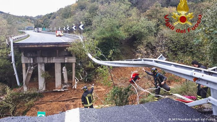 A section of collapsed A6 highway between Turin and Savona