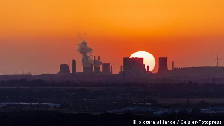 Sunset over a power plant in Germany