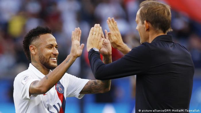 Ligue 1 - Paris Saint Germain vs RC Straßburg: Thomas Tuchel und Neymar
